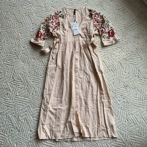 Zara button down spring floral dress